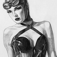 sexy drawing of catwoman in leather dress