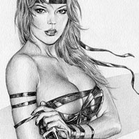sexy drawing of elektra with straps