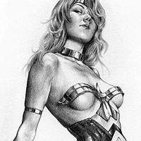 sexy wonder woman drawing - ropes