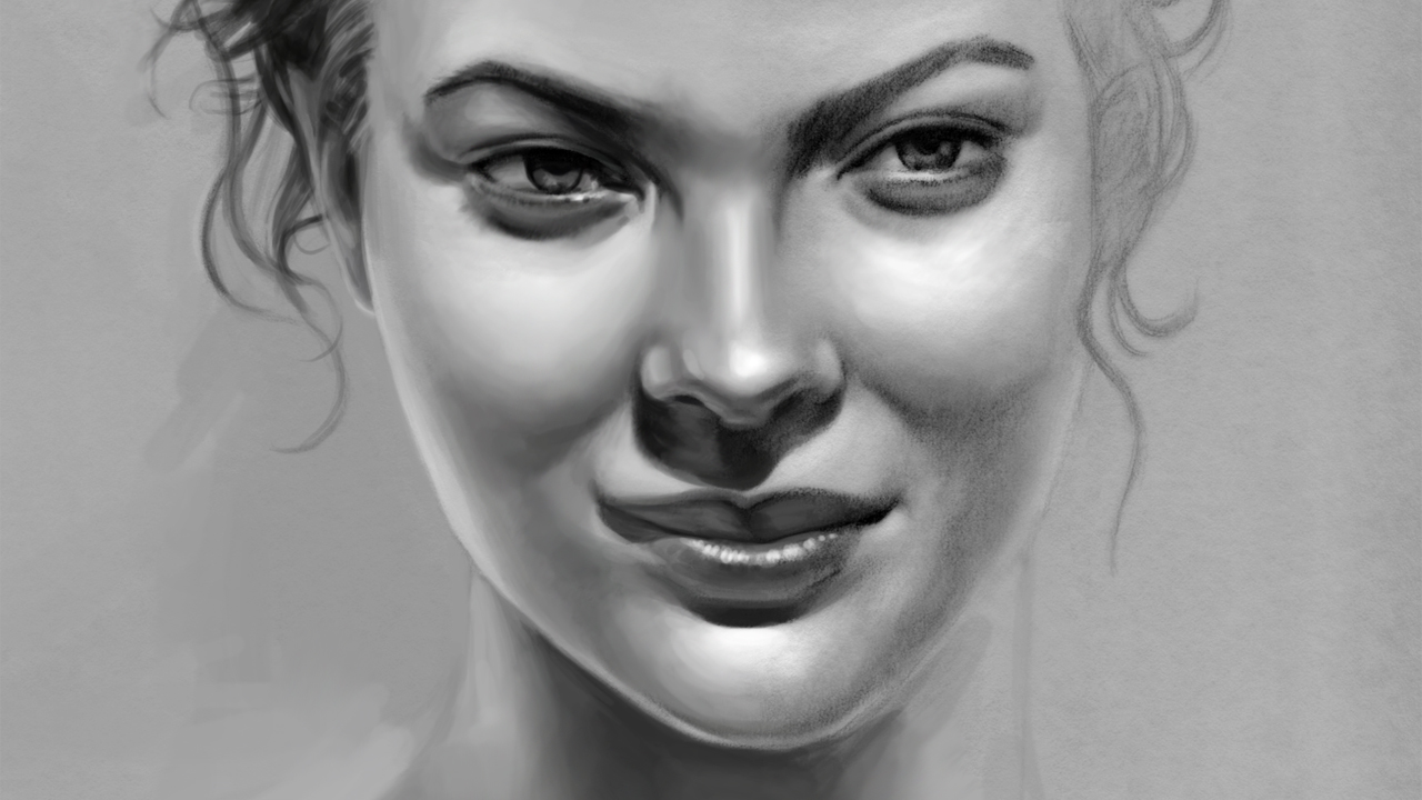 Photoshop Painting of My Pretty Face Drawing