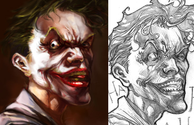 Joker Digital Painting with Sketch by Brian Ching