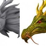 Dragon head modeling with Mudbox for details. Dragon textured.