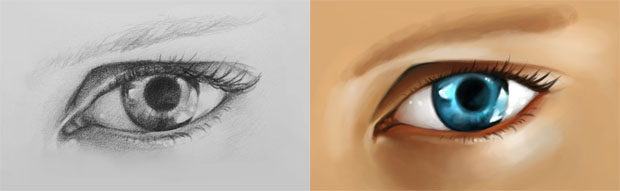 Eye Drawing Sketch Painted in Photoshop