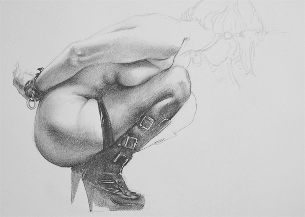 Sexy women in bondage - sexy female nude drawing