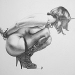 woman in bondage drawing