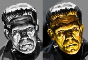 Work-in-progress for Basil Gogos' Frankenstein Painting in Photoshop