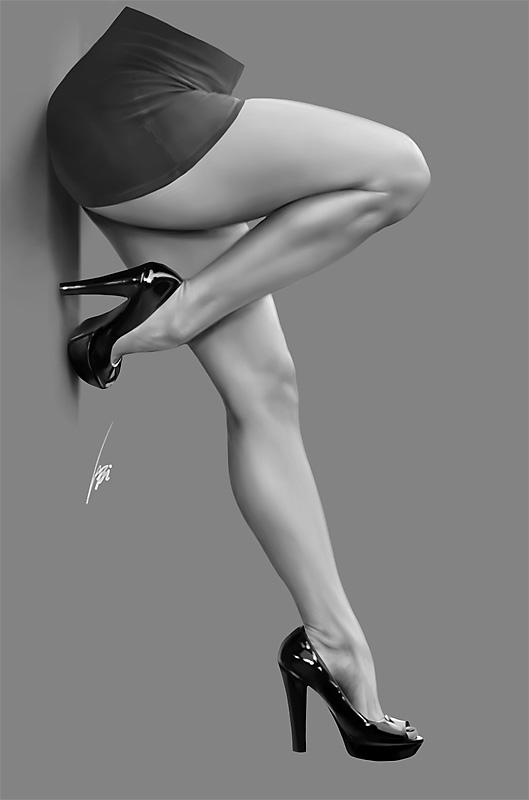 from John draw erotic pic woman in heels