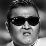 gangnam style psy painted in Photoshop. Soft airbrushing.