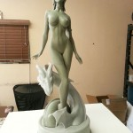 sexy lady dragon statue cast with dragon