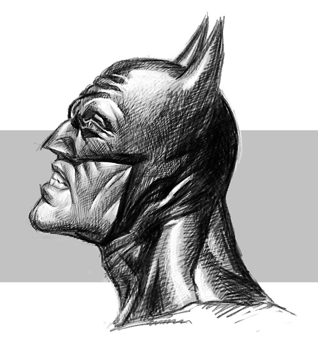 batman sketch in Photoshop with pencil brush