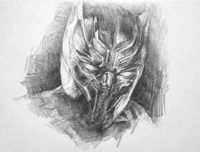 pencil drawing of the black panther