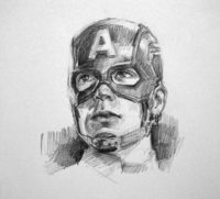 pencil drawing of captain america