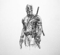 drawing deadpool with pencil